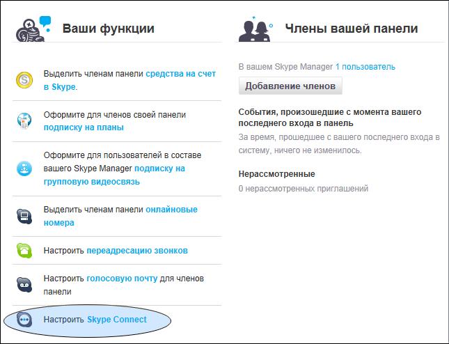 Настроить SkypeConnect